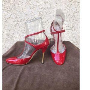 Prada MiuMiu Red Patent Leather Stiletto Sz 7.5 EC